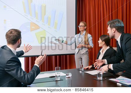 Making a presentation at meeting