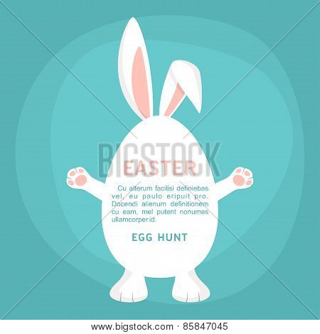 Happy Easter Day Holiday Vector Illustration. Cute Easter Bunny With Text