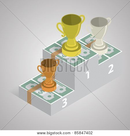 Golden silver and bronze winner cups on a pack of money. Isometr