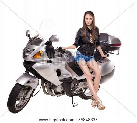 Sexy girl on motorbike