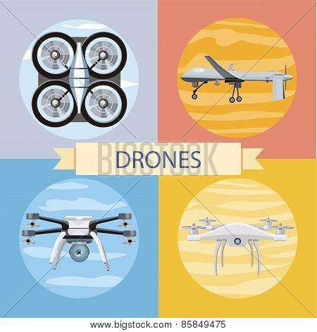 Set of different quadrocopters icons