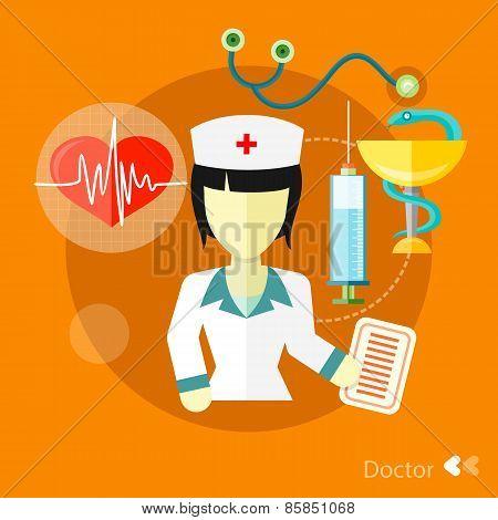 Doctor, nurse concept flat icons set