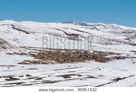 Agoudal, the highest village in Morocco, Africa. High Atlas range, winter season.