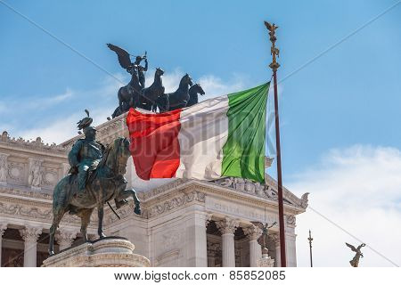 Italian National Flag In Front Of Altare Della Patria