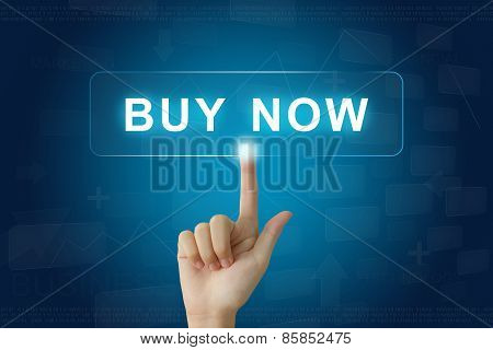 Hand Press On Buy Now Button On Touch Screen