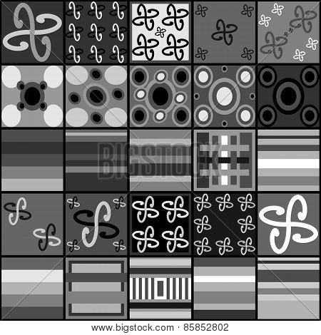 Collection of black white gray tiles