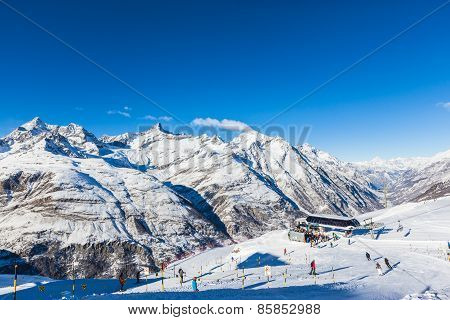 Skiing Area In Zermatt