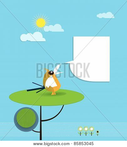 Paper Bird Perched On Tree With Speech Bubble