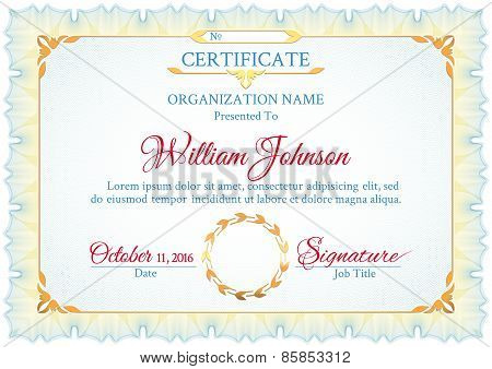 Classic white certificate