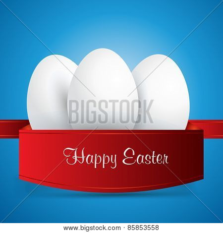 Happy Easter. White Easter Eggs Wrapped In Red Ribbon. Blue Background. Vector Eps 10 . Uskrs.