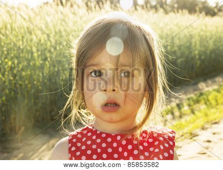 Pretty Little girl thinking at sunset in summer day
