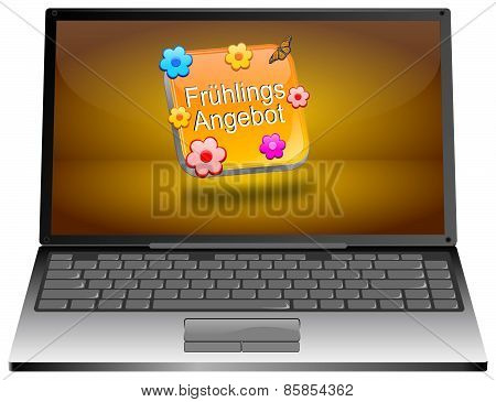 Laptop computer with spring sale button - in german