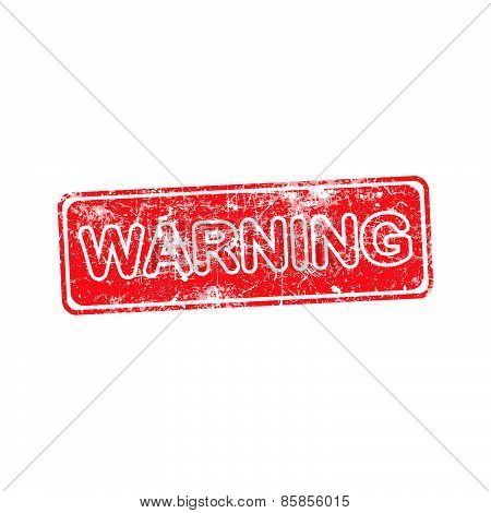 Warning Red Grunge Rubber Stamp Vector Illustration