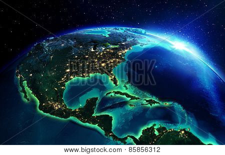 land area in North America, the night