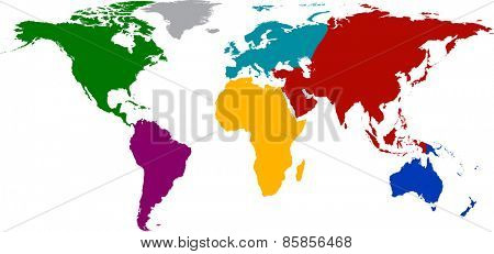 World map with colored continents. Vector illustration.