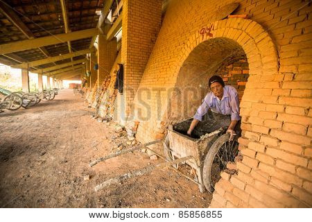 BHAKTAPUR, NEPAL - CIRCA DEC, 2013: Unidentified local people work at the Brick Factory. Nepal as a whole has been categorized as the 4th most vulnerable country in the world due to climate change.