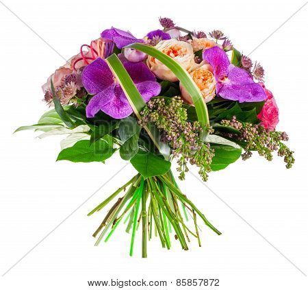 bouquet of roses, paeonia and orchids