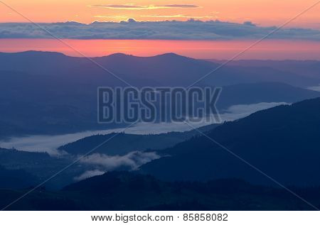 Dawn in the mountains. Morning landscape