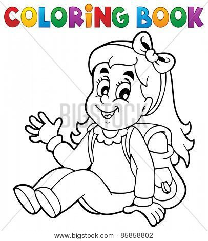 Coloring book pupil theme 5 - eps10 vector illustration.