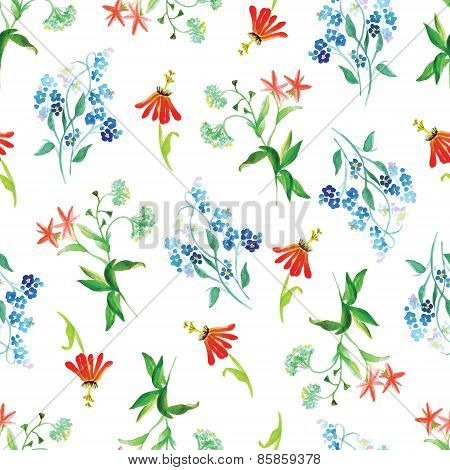 Forget-me-not And Red Flowers Watercolor Seamless Vector Print