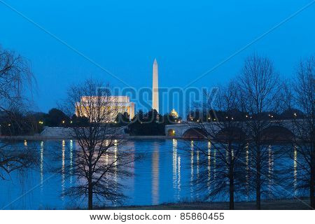 Lincoln Memorial National Monument and US Capitol Building after sunset.