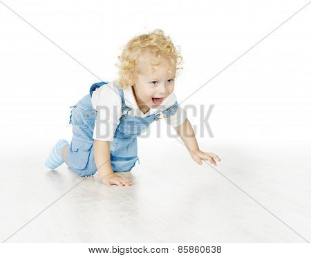 Little Child Boy Crawling, Baby Kid Isolated Over White Background