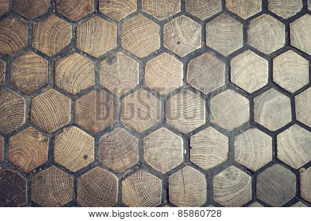Floor In The Schonbrunn Palace Paved With Hexagonal Wood Blocks.