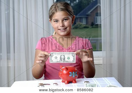 School Girl And Dollar Bills