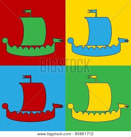 Pop Art Drakkar Symbol Icons.