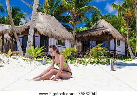 Young Cute Woman At Tropical White Sandy Beach During Caribbean Vacation