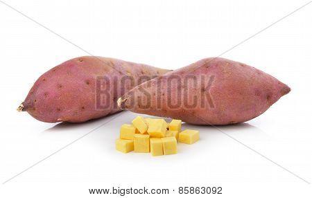 Sweet Yam Potato On The White Background