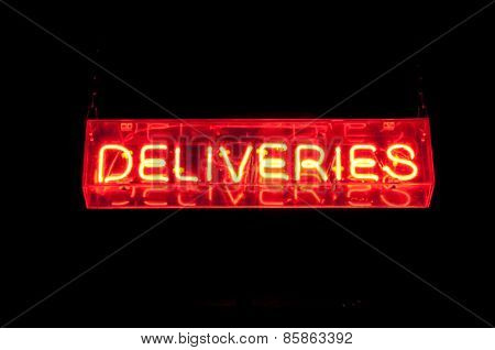 Neon Deliveries Sign