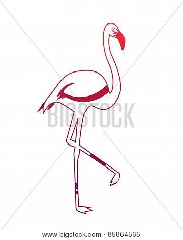 Logo pink flamingo. Abstract silhouette of the bird. Vector illustration