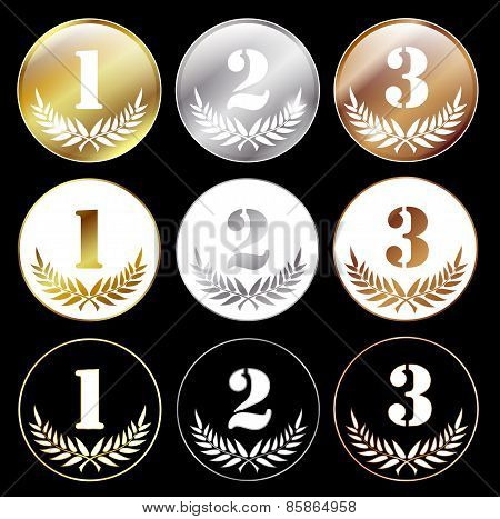 Medals With Numbers 1, 2 And 3