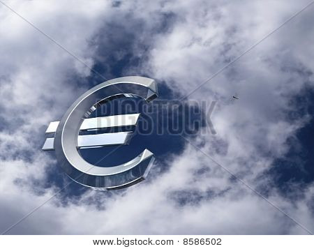 euro chrome symbol in the sky