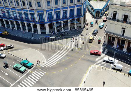 HAVANA, CUBA - MAY 3, 2013: Road crossing top view in Havana, Cuba on May 3, 2013