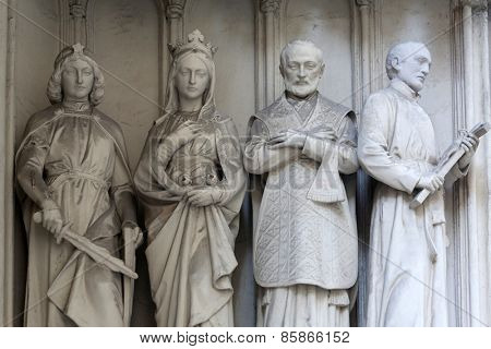 VIENNA, AUSTRIA - OCTOBER 10: Statue from south portal of gothic church Maria am Gestade in Vienna, Austria on October 10, 2014.