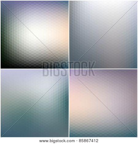 Abstract blurred hexagonal backgrounds set