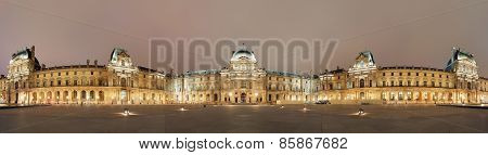 Night Panoramic View Of The Louvre Museum, Paris