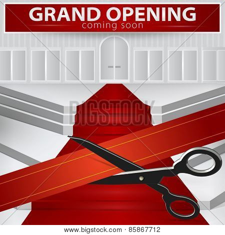 Shop Grand Opening - Cutting Red Ribbon. Vector , Eps 10.