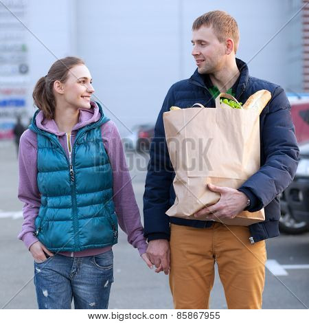 Happy Couple After Food Shopping