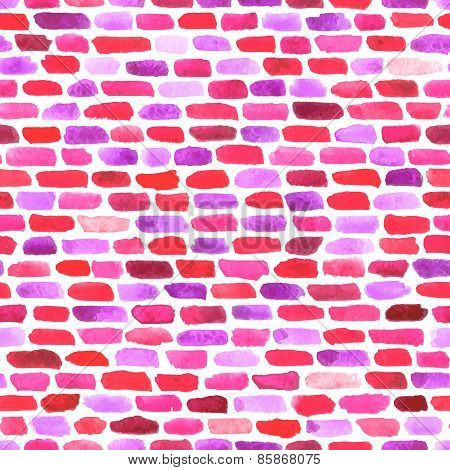 Watercolor Bricks. Vector Abstract Seamless Pattern.