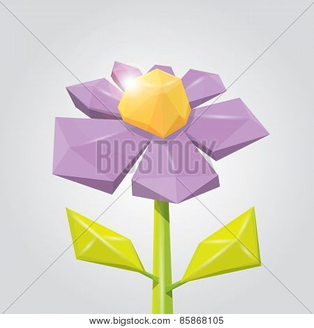 Conceptual polygonal color spring flower.