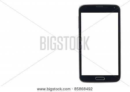 Black Smartphone With Silver Edges And White Screen Isolated