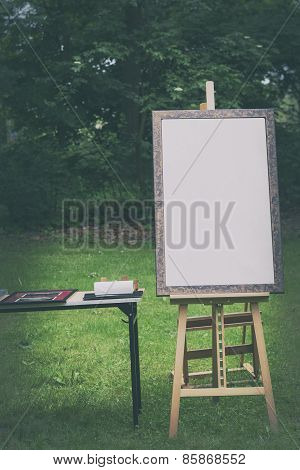 Blank Canvas Rests On A Easel, Retro Stylized