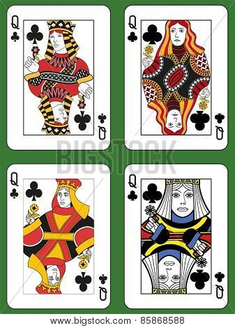 Four Queens of Clubs in four different styles on a green background