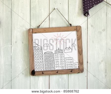 Buildings Doodles Message Board Hanging On Retro Green Wooden Wall