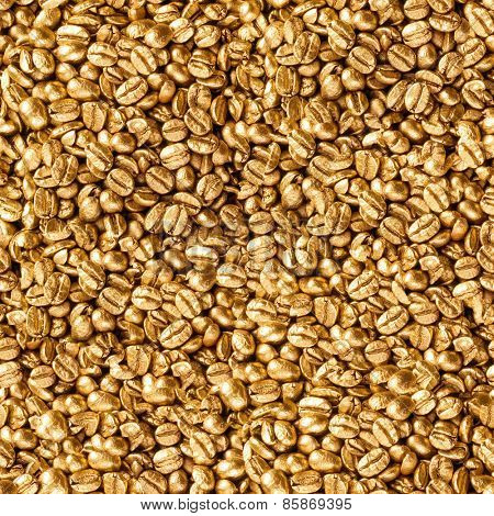 Seamless gold beans of coffee background.