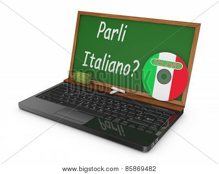Laptop And Chalk Board