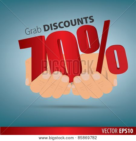 Grab Discounts. Hands Hold 70 Percent Discount. Vector Banner Discount Of 70  Percent. Eps 10